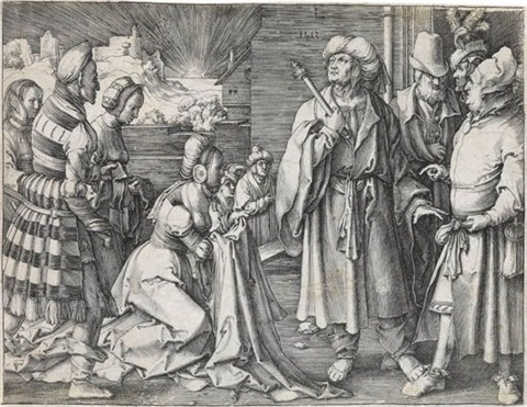 potiphars wife accusing joseph by lucas van leyden