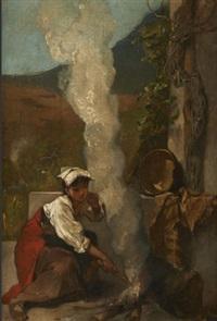 jeune italienne rallumant un feu by francois maurice reynaud