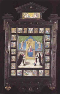 madonna and child enthroned and flanked by two angels... by flaminio allegrini