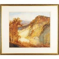 autumnal lake view by william mitcheson timlin