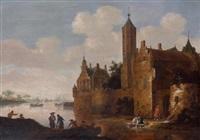 paysage de rivière avec une forteresse sur la droite by jan coelenbier