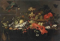 a lobster, oysters on a pewter dish, cherries, oranges and grapes in a wicker basket, butterflies and a bird hanging over a fully draped table by jan davidsz de heem