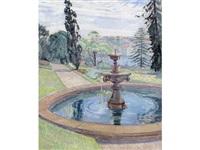 government house gardens and fountain by roy de maistre