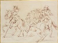 etude de trois cavaliers (study) by adam frans van der meulen