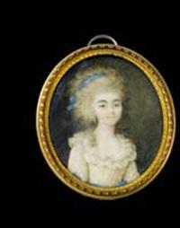 portrait de jeune femme en robe de soie ivoire coiffée à 'la conseilleur' et ruban de soie bleue by ignazio pio vittoriano campana