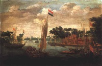 a dutch states yacht with numerous smalschips and barges on a river estuary beside a village by abraham de verwer