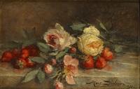 stilleven met rozen en aardbeien by marguerite dielman