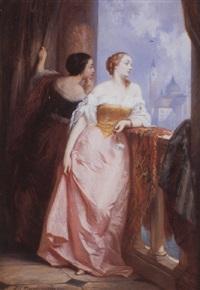 damas en el balcón by edouard jean conrad hamman