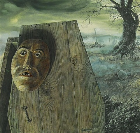wooden mask hanging on wooden coffin bk illus for the three coffins by tom adams