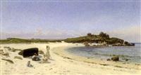 la famille de l'artiste sur la plage, bretagne by emile isembart