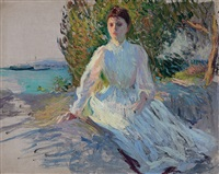 emeline tarbell: sketch at evening by edmund charles tarbell
