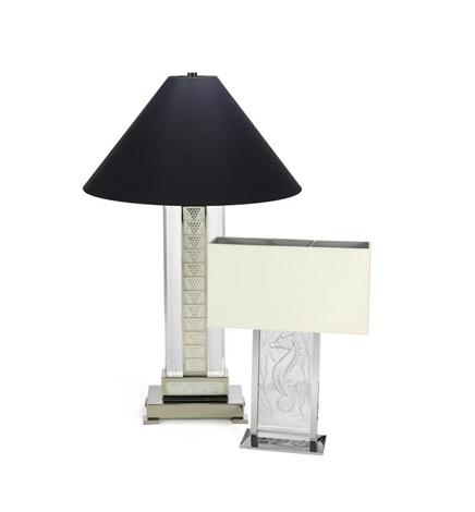 A Lalique U0027poseidonu0027 Seahorse Table Lamp Together With A Set Of Three  Lalique U0027