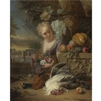 a young woman kneeling and holding flowers in a park landscape, with game and fruit resting on a carved stone frieze by jan weenix