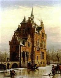château dans un paysage d'hiver by victor vervloet