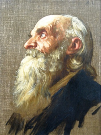 old man head study by alphonse legros