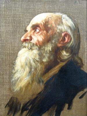 old man head study by alphonse legros
