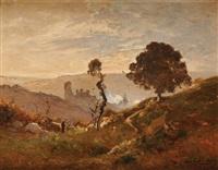 paysage aux ruines by louis alexandre cabié