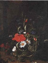 bouquet de fleurs à l'escargot et au papillon by anna elisabeth ruysch