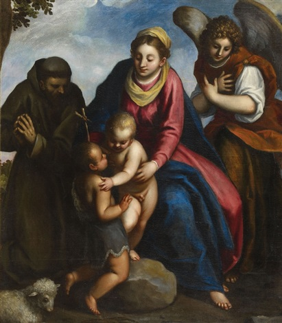 the virgin with saint john saint francis and an angel by jacopo palma il giovane