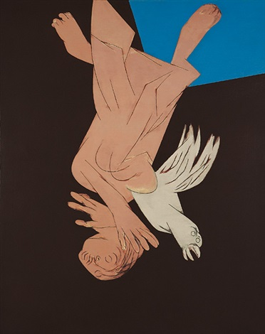 falling figure with bird by tyeb mehta