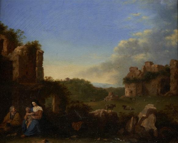 descanso na fuga para o egípto by cornelis van poelenburgh