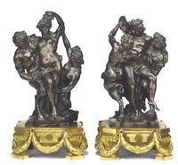 bacchic group of revellers (2 works) by pierre legros the elder
