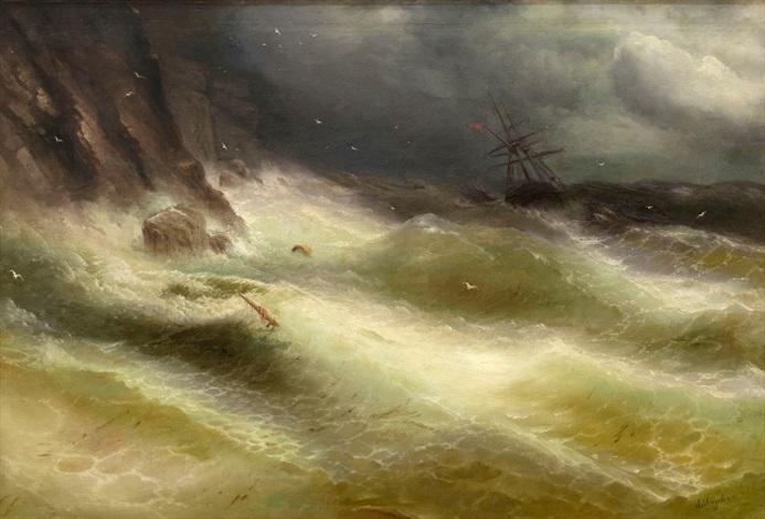 schiff in stürmischer seelandschaft vor der krim by ivan konstantinovich aivazovsky