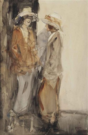 two elegant ladies conversing by isaac israels