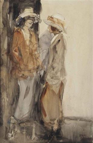two elegant ladies conversing by isaac israels