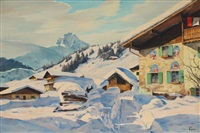 alpine snow covered village by hans figura
