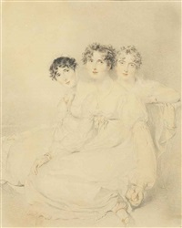 portrait of the wellesley-pole sisters: lady mary charlotte anne (d., wife of sir charles bagot) (left); lady emily harriet (1792-1881... by thomas lawrence
