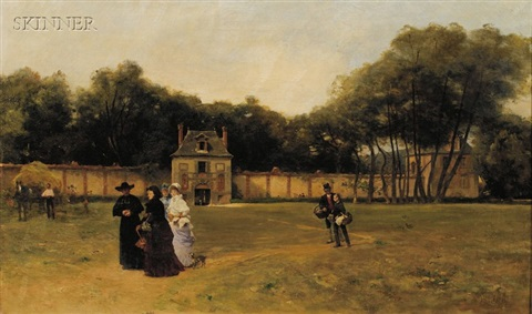 a stroll on the grounds by ferdinand heilbuth