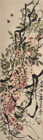 柴藤蜜蜂图 wisteria and two bees by qi baishi