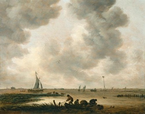 the haarlemmermeer on a cloudy day with a distant view of the church of saint bavo haarlem by jan josefsz van goyen