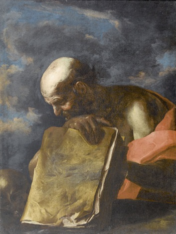 heiliger hieronymus mit totenschädel und buch by giuseppe antonio petrini