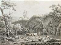 bergers et leur troupeau au bord d'une rivière by henri-joseph antonissen