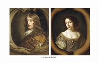 portrait of a gentleman traditionally identified as john coke, bust-length... (+ portrait of a lady traditionally identified as mary coke...; 2 works) by sir peter lely