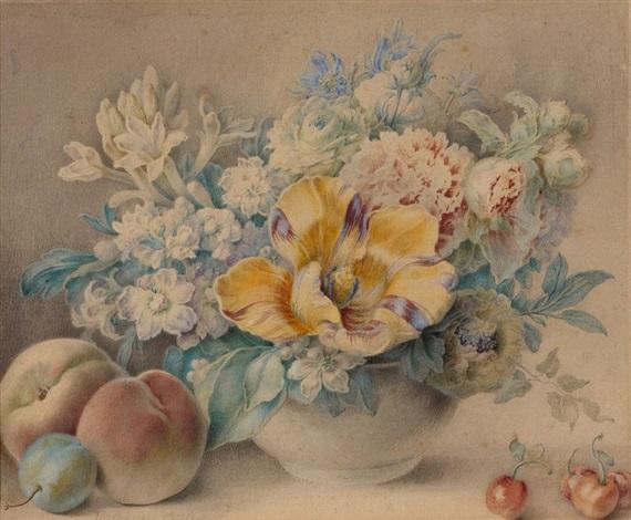 nature morte de fleurs et de fruits by jacques andré portail