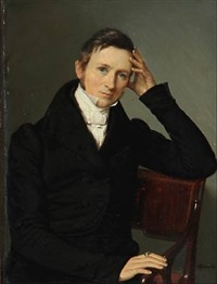 portrait of the painter john eilert steenfeldt (1799-1860) (2 works) by louis auguste francois aumont