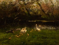 a family of ducks by the water by willem maris