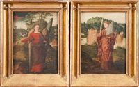 sainte catherine et sainte cécile (pair) by italian school (16)