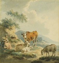 a young maiden in a landscape with cattle and sheep by peter la cave