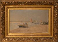barques sur la plage by maurice françois auguste courant
