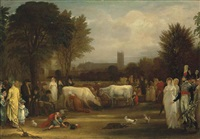 milkmaids in st. james's park, westminster abbey beyond by benjamin west