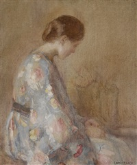 seated woman in a blue kimono by clarence hinkle