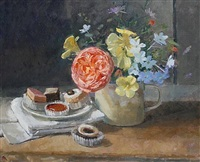 late summer flowers and petit fours by pamela kay
