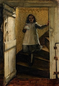 jeune fille descendant un escalier by laura theresa alma-tadema
