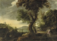 a wooded river landscape with diana and her nymphs hunting by alexander keirincx