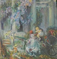 southern scene - nanny and children by armstrong