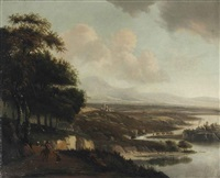 an extensive italianate river landscape with horsemen on a path by joris van der haagen